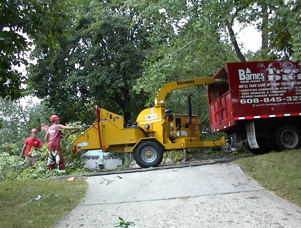 men using wood chipper